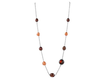 Cleveland Browns Honora Necklace with Multi Color Pearls and Charm