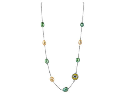 Green Bay Packers Honora Necklace with Multi Color Pearls and Charm
