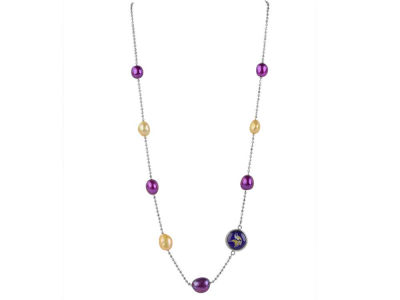 Minnesota Vikings Honora Necklace with Multi Color Pearls and Charm