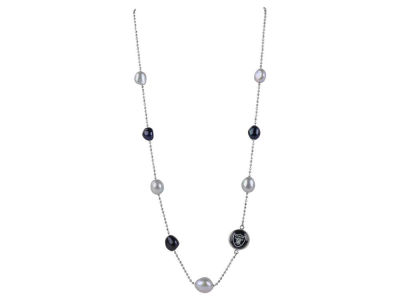 Oakland Raiders Honora Necklace with Multi Color Pearls and Charm
