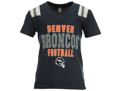 Denver Broncos NFL Youth Girls Heart Football T-Shirt