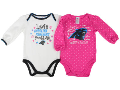Carolina Panthers NFL Newborn Girls 2 Pack Long Sleeve Bodysuit