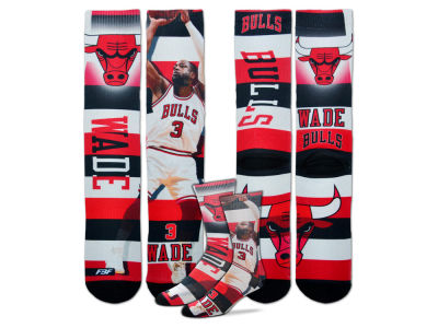 Chicago Bulls Dwyane Wade For Bare Feet NBA Pro Stripe Player 308S Crew Sock