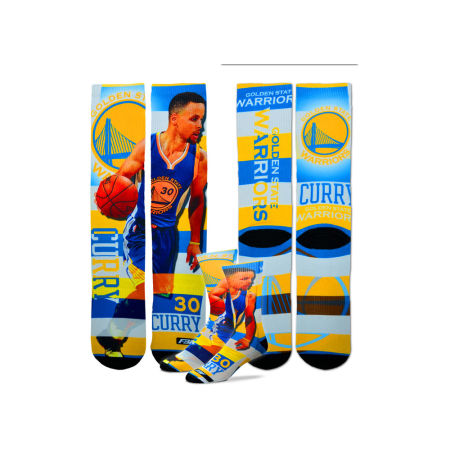 Golden State Warriors Stephen Curry For Bare Feet NBA Pro Stripe Player 308S Crew Sock