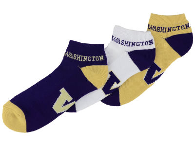 Washington Huskies For Bare Feet Money No Show Sock - 3pk