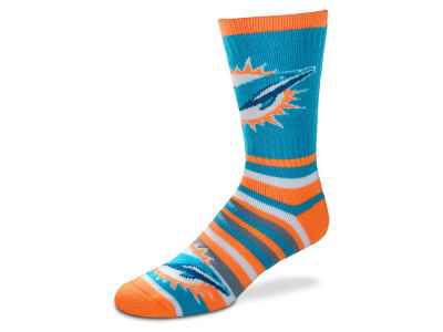 Miami Dolphins Lotta Stripe Crew Sock