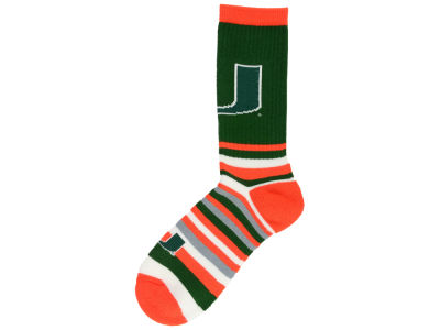 Miami Hurricanes For Bare Feet Lotta Stripe Crew Sock