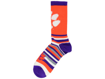 Clemson Tigers For Bare Feet Lotta Stripe Crew Sock