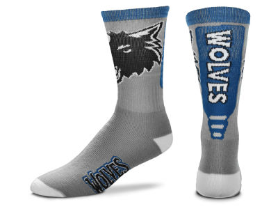 Minnesota Timberwolves For Bare Feet Cool Grey Jump Key Crew Sock