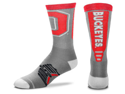 Ohio State Buckeyes For Bare Feet Cool Grey Jump Key Crew Sock