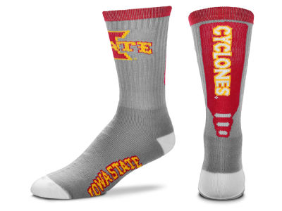 Iowa State Cyclones For Bare Feet Cool Grey Jump Key Crew Sock