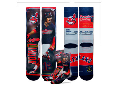 Cleveland Indians Francisco Lindor For Bare Feet MLB Trading Card Player Crew Socks