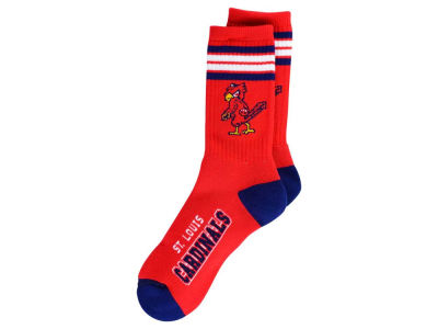 St. Louis Cardinals For Bare Feet Retro 4 Stripe Deuce Crew Socks