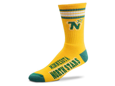 Minnesota North Stars For Bare Feet Retro 4 Stripe Deuce Crew Socks