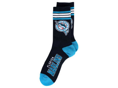 Miami Marlins For Bare Feet Retro 4 Stripe Deuce Crew Socks