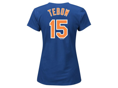 New York Mets Tim Tebow Majestic MLB Women's Crew Player T-Shirt