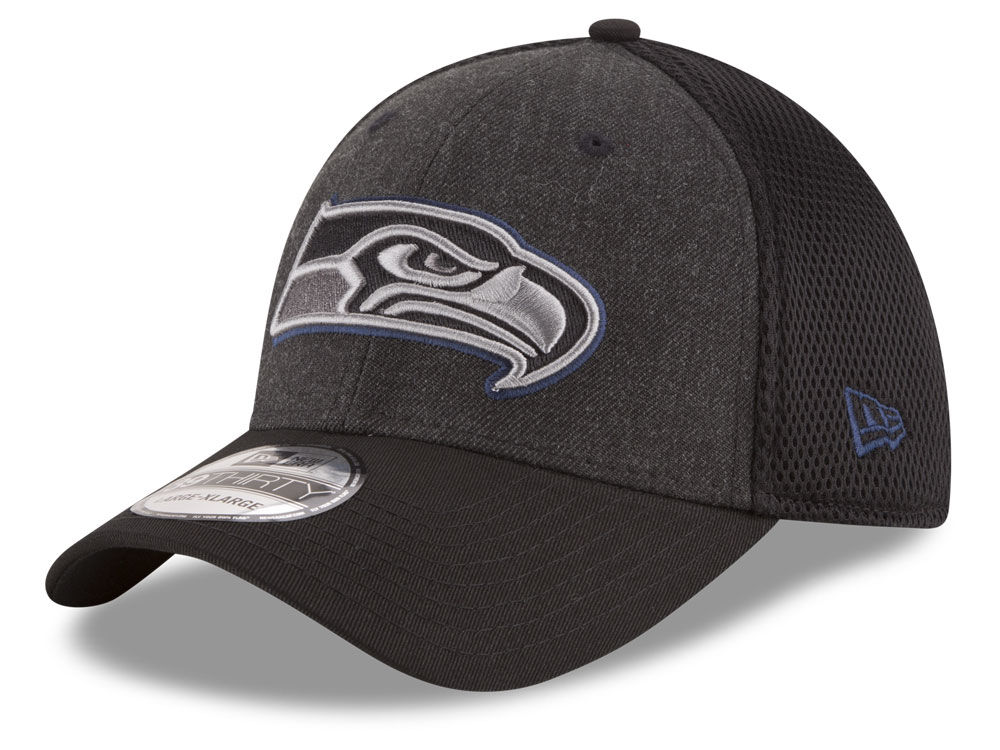 168f64435 Seattle Seahawks New Era NFL Black Heather Neo 39THIRTY Cap