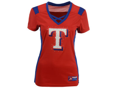 Texas Rangers Majestic MLB Women's Draft Me Cross T-Shirt