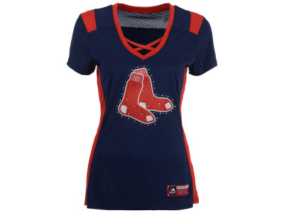 Boston Red Sox Majestic MLB Women's Draft Me Cross T-Shirt