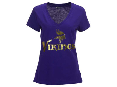 Minnesota Vikings NFL Women's Foil Wordmark V-Neck T-Shirt