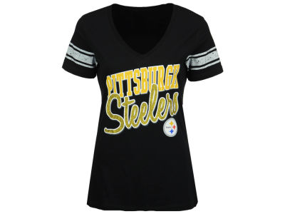 Pittsburgh Steelers NFL Women's Glitter Sleeve Stripe T-Shirt
