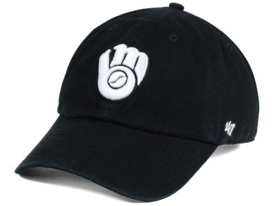 Milwaukee Brewers '47 MLB Black White '47 CLEAN UP Cap