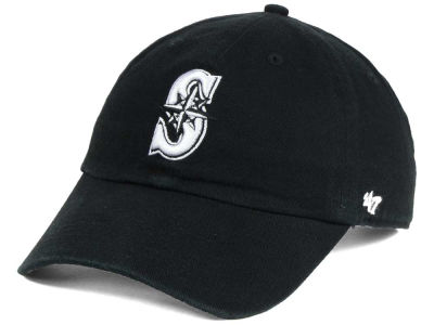 Seattle Mariners '47 MLB Black White '47 CLEAN UP Cap