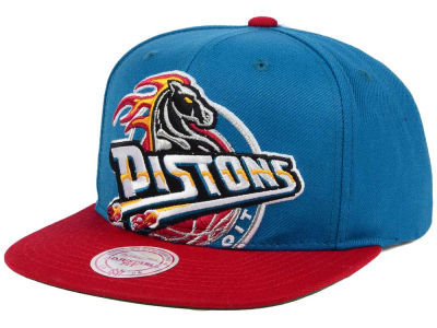 Detroit Pistons Mitchell and Ness NBA Hardwood Classic Cropped XL Logo Snapback Cap