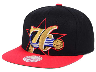 Philadelphia 76ers Mitchell and Ness NBA Hardwood Classic Cropped XL Logo Snapback Cap