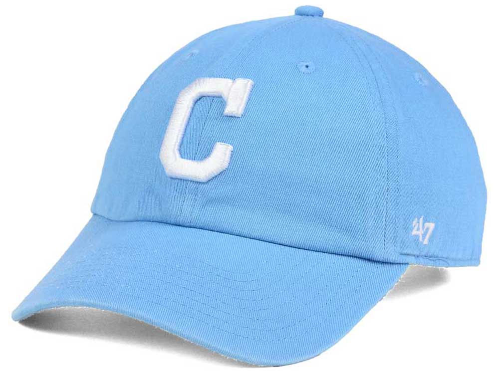 check out fb21b 4a063 ... discount cleveland indians 47 mlb womens powder blue white 47 clean up  cap 2a2d2 0007b