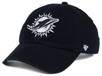 Miami Dolphins '47 NFL Black and White '47 CLEAN UP Cap