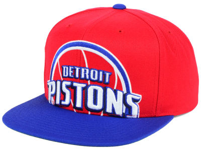 Detroit Pistons Mitchell and Ness NBA Cropped XL Logo Snapback Cap