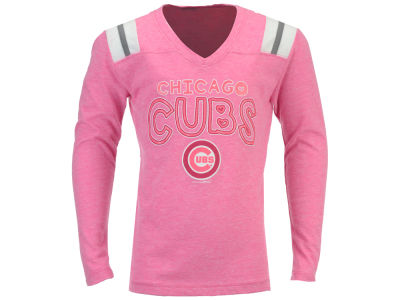 Chicago Cubs 5th & Ocean MLB Youth Girls Heart Pink Long Sleeve T-Shirt