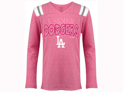Los Angeles Dodgers 5th & Ocean MLB Youth Girls Heart Pink Long Sleeve T-Shirt