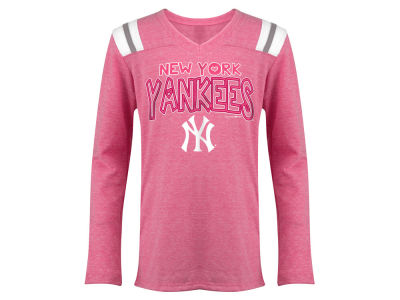 New York Yankees 5th & Ocean MLB Youth Girls Heart Pink Long Sleeve T-Shirt