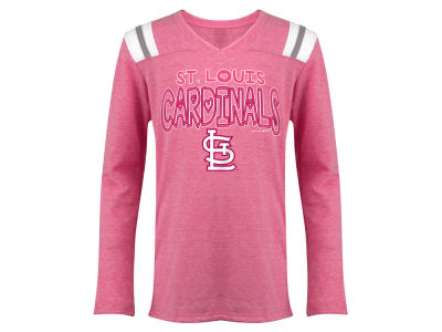 St. Louis Cardinals 5th & Ocean MLB Youth Girls Heart Pink Long Sleeve T-Shirt