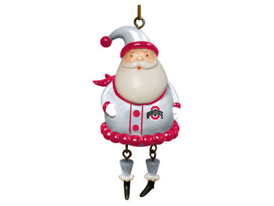 Ohio State Buckeyes Dangle Legs Santa Ornament