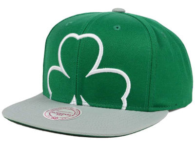 Boston Celtics Mitchell and Ness NBA Hardwood Classic Cropped XL Logo Snapback Cap