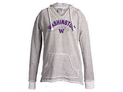 Washington Huskies Blue 84 NCAA Women's Stripe V Hooded Sweatshirt