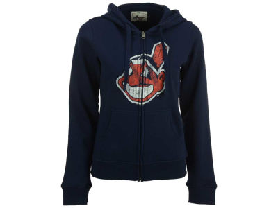 Cleveland Indians MLB Women's Full Zip Distressed Hooded Sweatshirt