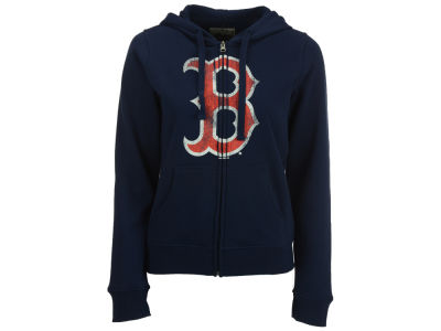 Boston Red Sox MLB Women's Full Zip Distressed Hooded Sweatshirt