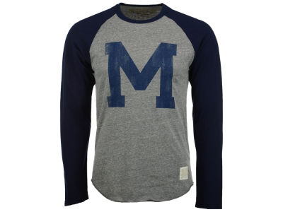 Michigan Wolverines Retro Brand NCAA Men's Color Block Long Sleeve T-Shirt