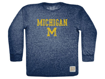 Michigan Wolverines Retro Brand NCAA Men's Tri-Blend Long Sleeve T-Shirt
