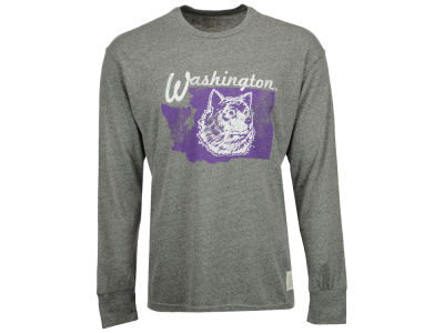 Washington Huskies Retro Brand NCAA Men's Tri-Blend Long Sleeve T-Shirt