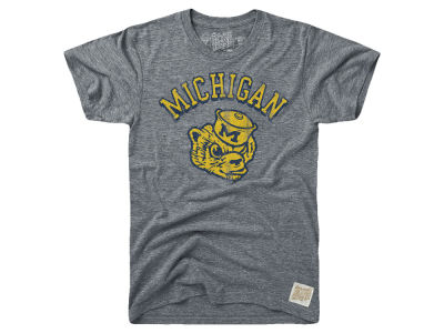 Michigan Wolverines Retro Brand NCAA Men's Tri-Blend Vault Logo T-Shirt