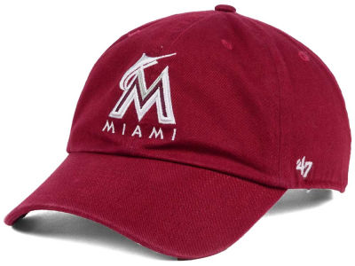 Miami Marlins '47 MLB Cardinal and White '47 CLEAN UP Cap