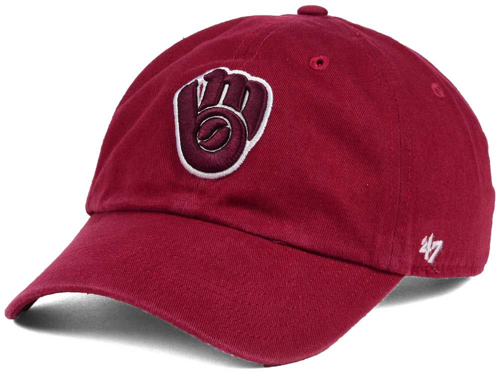 best sneakers 68555 6ff00 inexpensive milwaukee brewers 47 mlb cardinal and white 47 clean up cap  56dbc 04e83