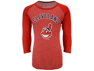 Cleveland Indians Majestic MLB Men's Heather Logo Triblend Raglan Shirt