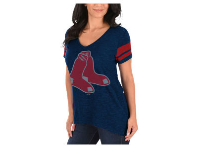Boston Red Sox Majestic MLB Women's Check the Tape Plus Size T-Shirt