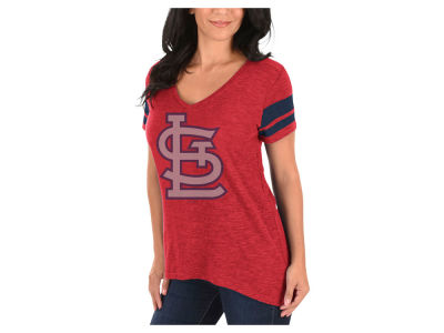 St. Louis Cardinals Majestic MLB Women's Check the Tape Plus Size T-Shirt